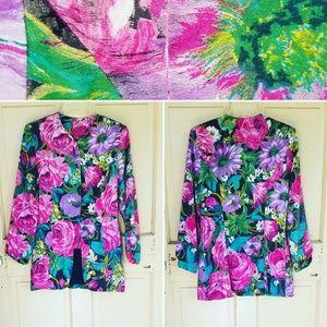 Vintage floral silk blazer